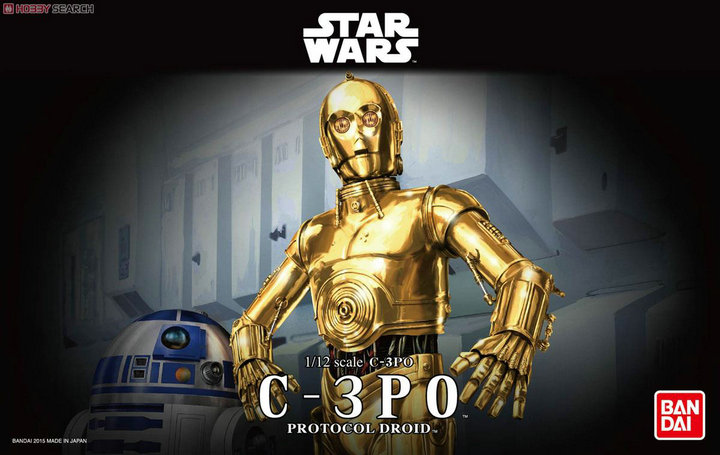 Free Shipping 2015 New Genuine Bandai 1:12 Scale Star Wars C-3PO protocol droid Plastic Model Building Kits DIY Toys 2015 new genuine bandai 1 48 scale star wars snow speeder modified incom t 47 airspeeder plastic model building kits diy toys