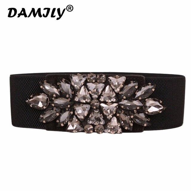 Elegant Rhinestone Belts for Women Waistband Luxury Brand Ladies Dress Cinch  Belt Crystal Stretch Waistband Elastic Cummerbunds 875426835d75