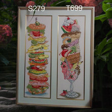 Fishxx Cross Stitch Kit T699 S279 Super Ice Cream Fruit Dessert Hand Embroidered Restaurant Two Patterns