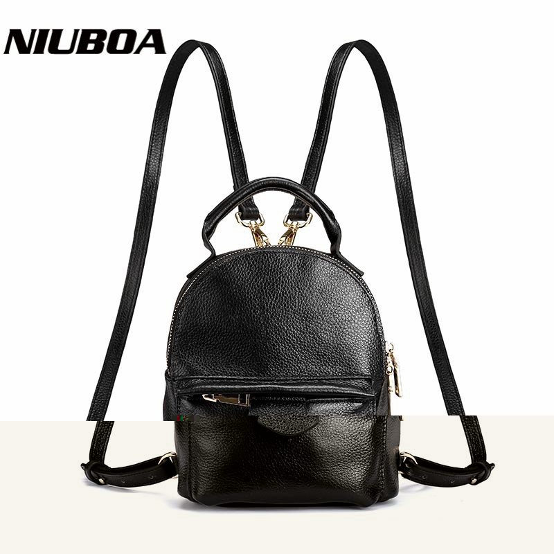 Fashion Genuine Leather Backpack Women Mini Real Cowhide Style Backpack Girls School Bags Zipper Shoulder Women