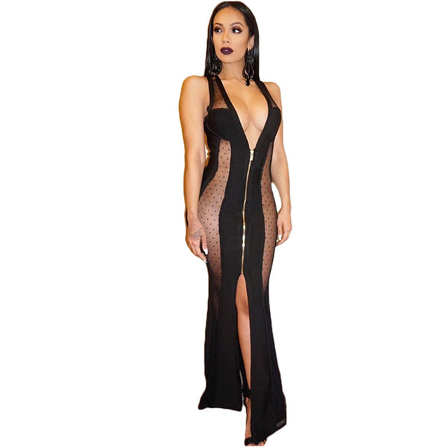 dc73cfb3e9a98 US $11.97 29% OFF|2018 Summer Side Slit Sexy Lace Dresses Sleeveless Maxi  Gown Side Cut Lace Black Gothic Dress Long Evening Gowns Dresses Robe-in ...