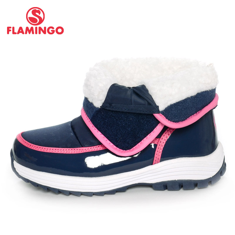 FLAMINGO 2016 new collection winter fashion snow boots with wool high quality anti-slip kids shoes for girl W6NQ032