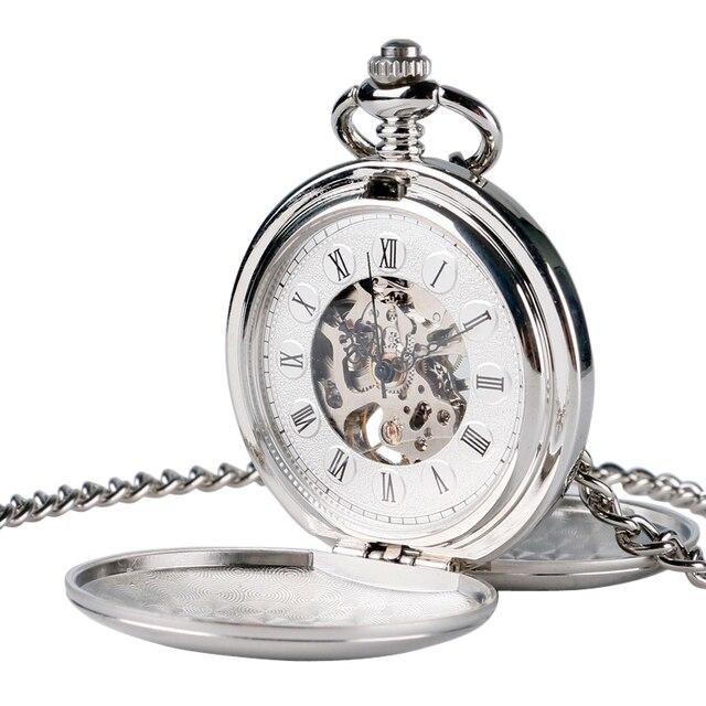 Steampunk Pocket Watch Clock Women Wind Up Mechanical Hand Wind Smooth Silver Pe