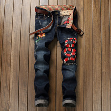 New Arrival Snake Embroidery Man Jeans Fashion Slim Blue Trousers