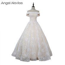 Angel Novias Long Ball Gown Wedding Dresses 2018 Vestido De Novia Sirena Light Champagne Lace Up Lace Bridal Dress