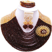 ACZUV Women Costume Jewelry Set Gold and Brown African Beads Nigerian Wedding Party Jewelry Sets 15C 018