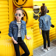 Teen Girls Denim Jacket Coats Vintage Jeans Jackets for Girl Clothes Toddler Children Outerwear Letter Print 4-14T