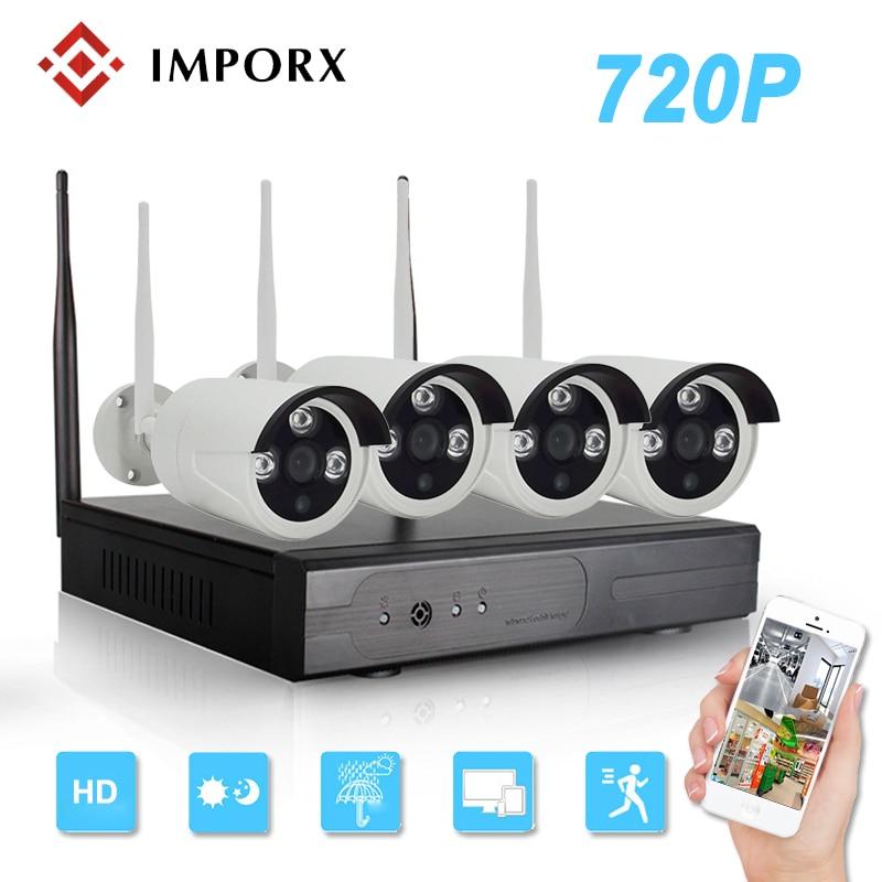 CCTV System 720P 4CH Wireless NVR kit Outdoor IR Night Vision 1MP 4PCS IP Wifi IP CCTV Camera Security System Surveillance Kit цена 2017