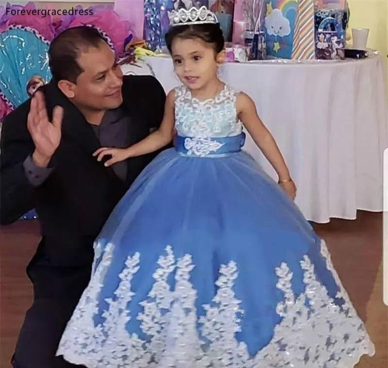Cheap Lovely Cute Flower Girls Dresses 2019 Vintage Princess Light Sky Blue Daughter Toddler Pretty Kids Children Pageant Gowns