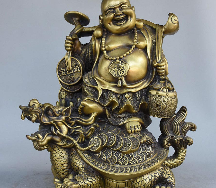 14 Chinese Buddhism Bronze Dragon Turtle Happy Laughing Maitreya Buddha Statue 14 Chinese Buddhism Bronze Dragon Turtle Happy Laughing Maitreya Buddha Statue