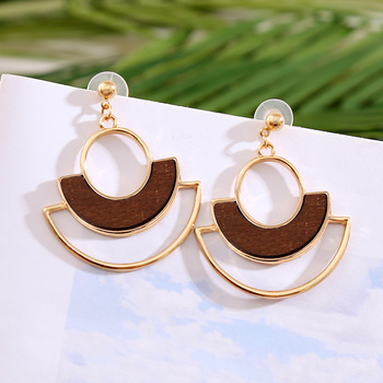 Statement Semicircle Geometric Gold Metal Drop Earrings For Women 2020 Fashion Boho Inlay Wooden Dangle Earring Jewelry Gifts image