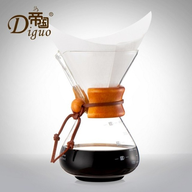 1pcs Glass Pour Over Coffee Maker Classic Series Glass Coffeemaker