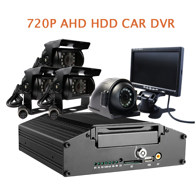 G-sensor HDD 4CH 720P AHD Car DVR Video Recorder Cycle Recording Metal Rear Back Side Front View Car Camera System + 7 Monitor new usp 4484038 0p 29 8 4 inch touch screen post 8 4 inch resistive touch panel for industry applications