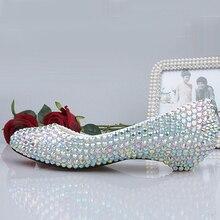 2016 Low Heels Sparkling Rhinestone Bridal Bridal Dress Shoe Women AB Crystal Performance Shoes Diamond Lady Wedding Shoes