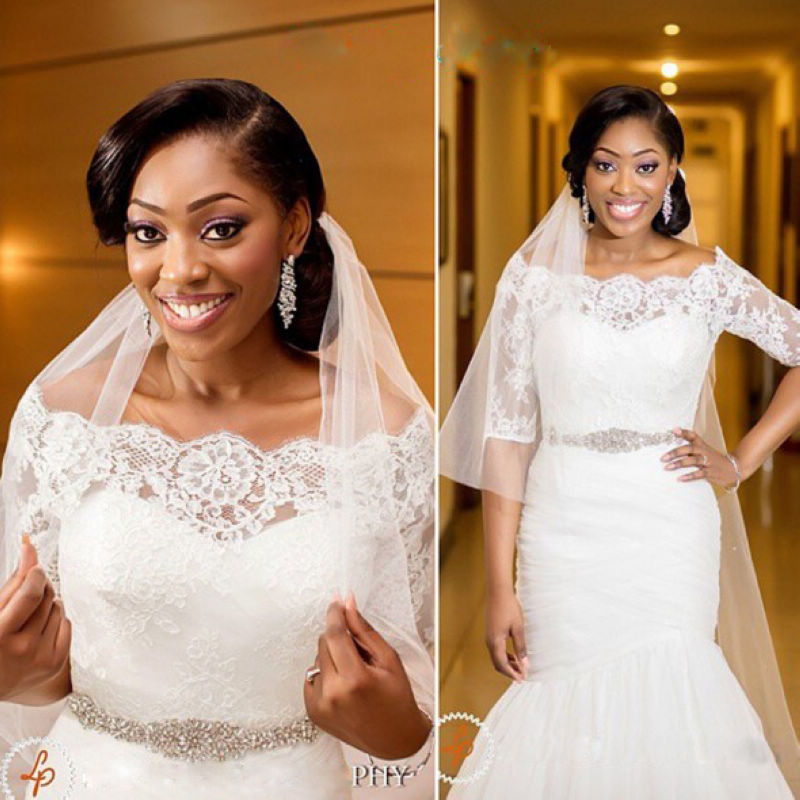 African Wedding Gowns With Half Sleeves Boat Neck Lace Mermaid ...