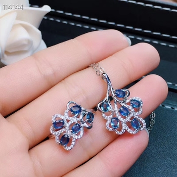 Natural blue sapphire gem Ring Pendant Natural Gemstone Jewelry Set 925 Silver Luxurious Fan Leaves Women party gift jewelry