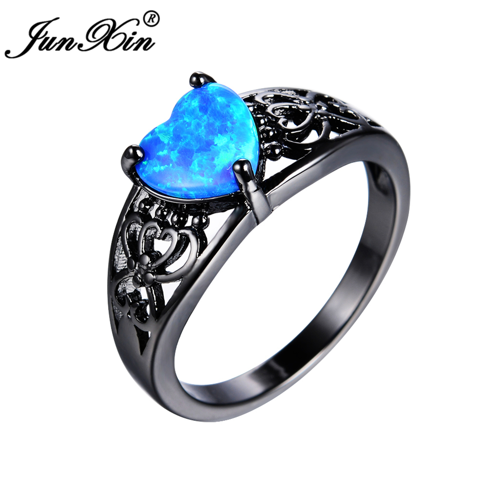 Junxin Fashion Blue Heart Fire Opal Ring Vintage Black