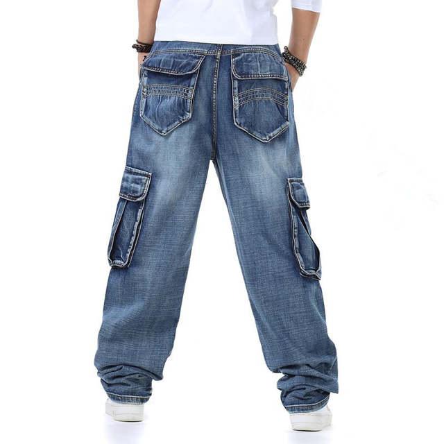 900841bd439 Male Hip Hop Baggy Cargo Jeans Mens Straight Loose Fit Jeans For Men Blue Denim  Pants