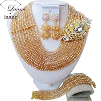 Nigerian Costume Jewelry Gold Sets African Wedding Beaded Crystal Necklace AL015