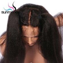 Sunnymay Brazilian Kinky Straight Glueless Full Lace Human Hair Wigs Black Women Italian Yaki Full Lace
