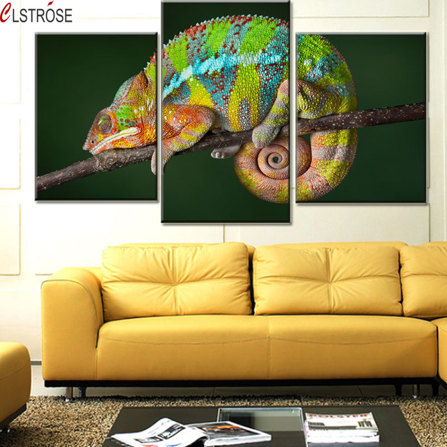 CLSTROSE Modern Animal Canvas Painting Green Animal Wall Pictures ...