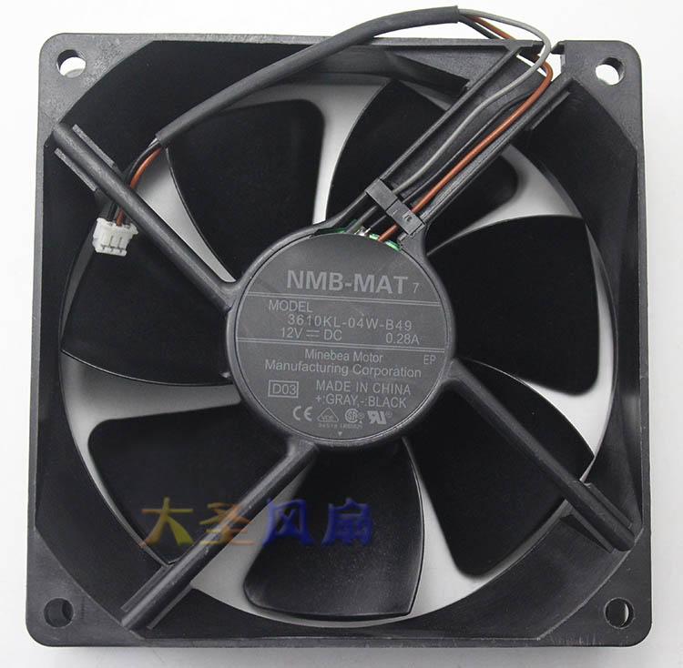 NMB 3610KL-04W-B49  90*90*25mm 12V  0.28A 3wire