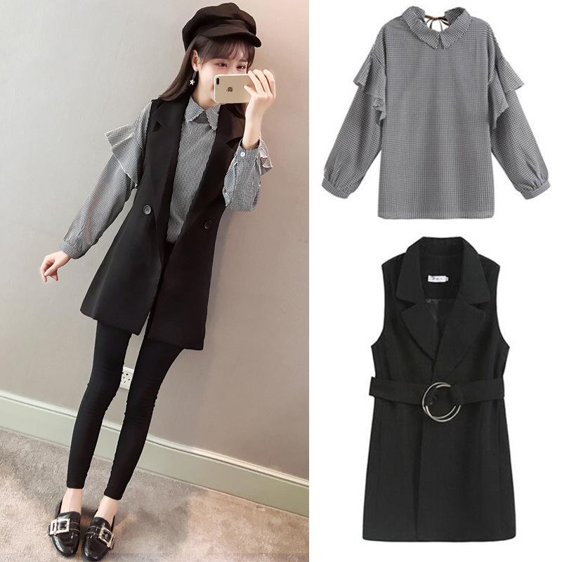 Gagarich 2019 Spring Women Two Piece Set New Fashion Marquee Temperament Fashion Female Plaid Shirt & Black Vest 6
