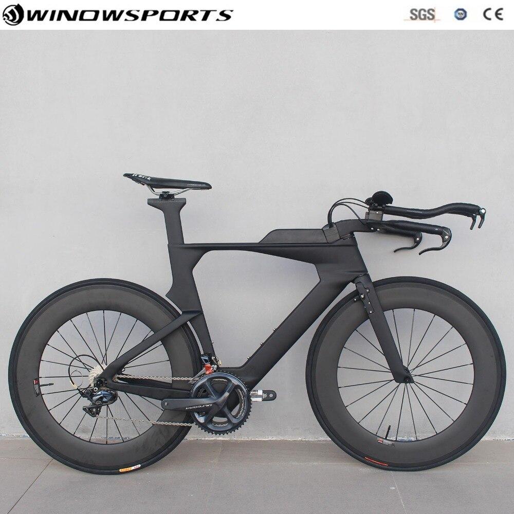 Triathlon vélo carbone contre-la-montre vélo plein carbone triathlon TT vélo 22 vitesses 105/R8000 Groupset tt cadre de vélo szie 48/51/54 cm