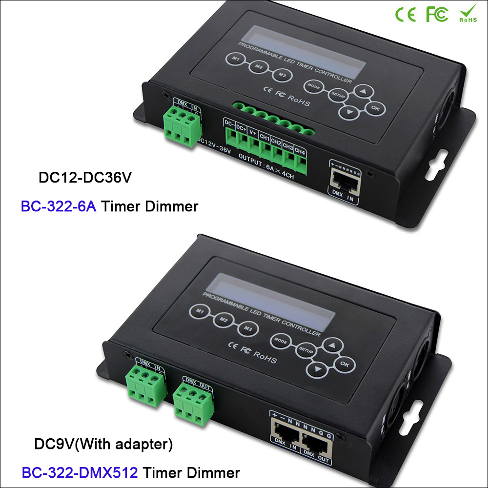 Contrôleur Programmable d'aquarium de gradateur de LED de minuterie d'entrée de DMX512 contrôleur de lumière de bande de LED avec l'affichage d'affichage à cristaux liquides système d'horloge intégré