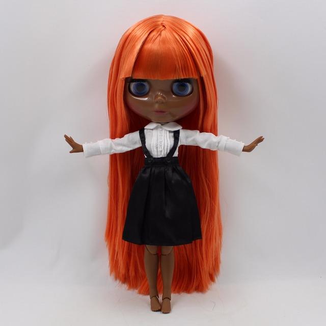 TBL Neo Blythe lutka crno-narančasta kosa spojena tijela