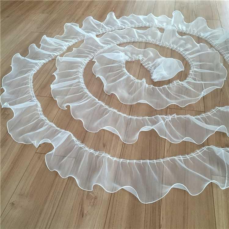 14CM szeroki luksusowy tiul koronkowa wstążka dekoracyjna Organza wykończone frędzlami suknia ślubna włochata spódnica Fringe łączenie szycia gipiury dostaw