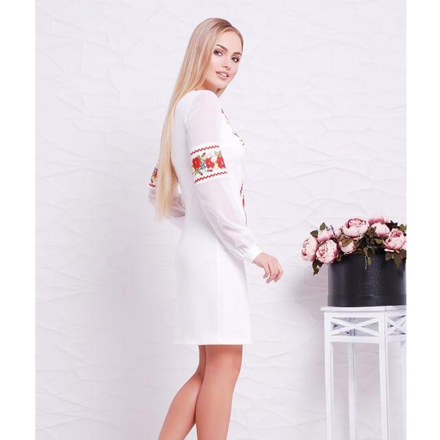 2018 New Designer Women Dress O Neck Flower Casual Straight Full Sleeve Female Dresses Sexy Big Size 6XL  Ukrainian Vestidos 4