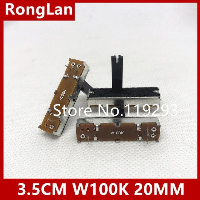 [SA] 대만 35MM 3.5 cm 슬라이드 전위차계 W100K 20MM 축. 10 개/몫