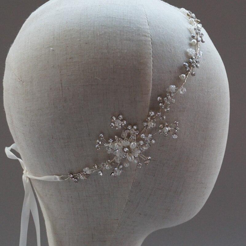 Горный хрусталь 1920 s свадебные Halo оголовье винтажный Вдохновленный Камень свадебное украшение богемные украшения для волос