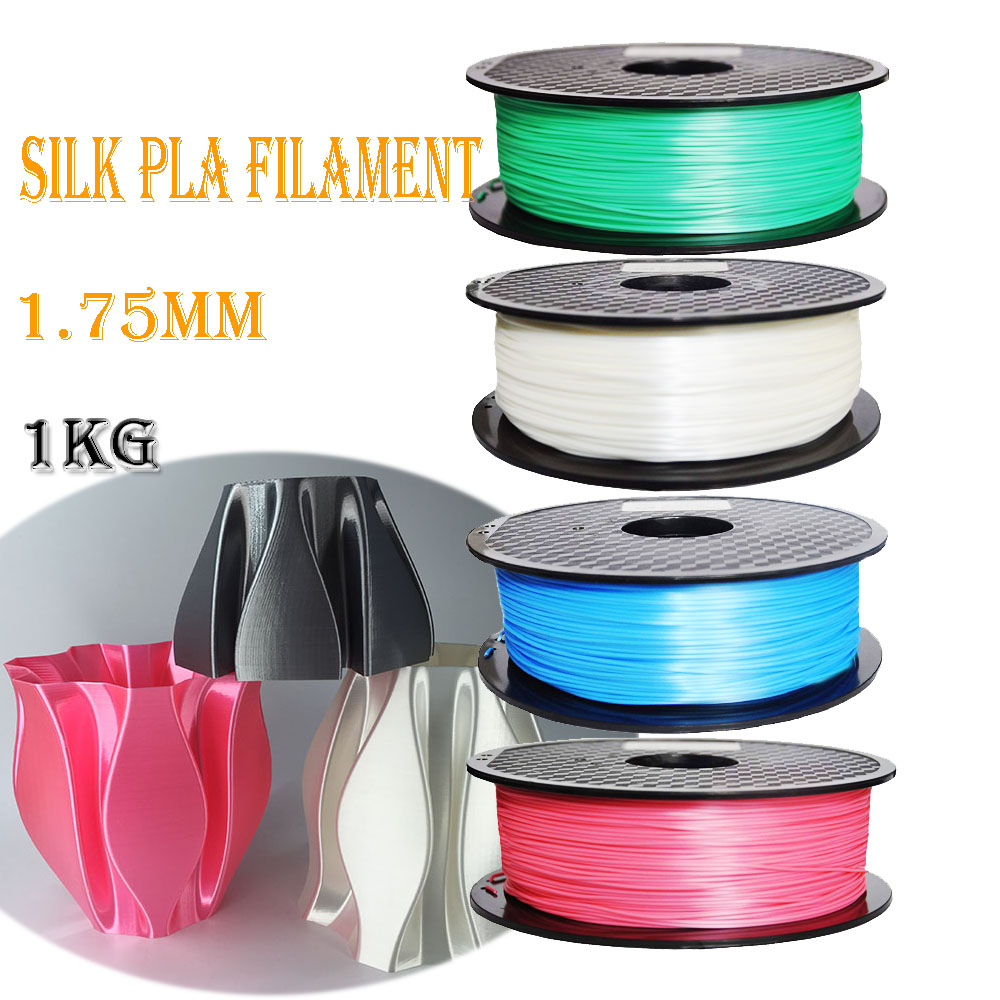 3D Printer Silk Red Blue Green Natural 1.75mm PLA Filament 1 KG Spool Printing Material Silky Shiny luster