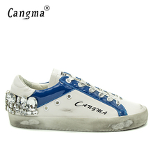 CANGMA Italian Brand Sneakers Men Diamond Shoes Crystal Vintage Genuine Leather White Bass Breathable Male Casual Shoes 34-48