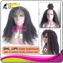 7A 100% virgin human hair high density lace front wig glueless,afro kinky curly lace front wigs high density