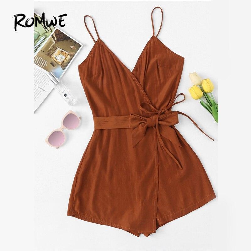 15c052981ed0 ROMWE Tie Waist Cami Belted Wrap Knot Brown Romper Female Summer Sleeveless  Spaghetti Strap Mid Waist