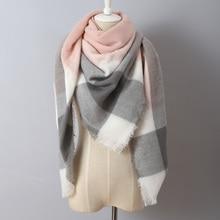 Za Brand Cashmere Scarf Plaid Designer Acrylic Blanket wrap Warm Winter Scarf Shawl For women