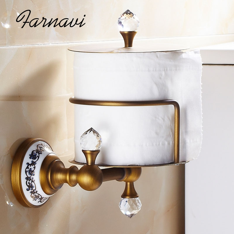 Toilet Paper Holder Wall Mounted Brass Antique Brushed Bathroom Accessory with Crystals Roll Storage Hanger Rack