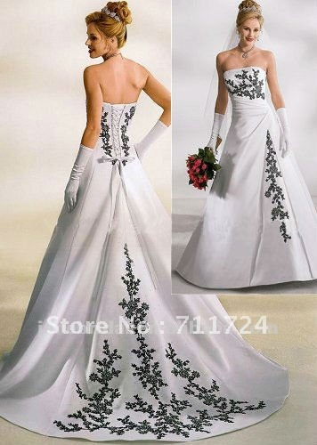 White And Black Embroidery A Line Satin Corset Wedding Dress