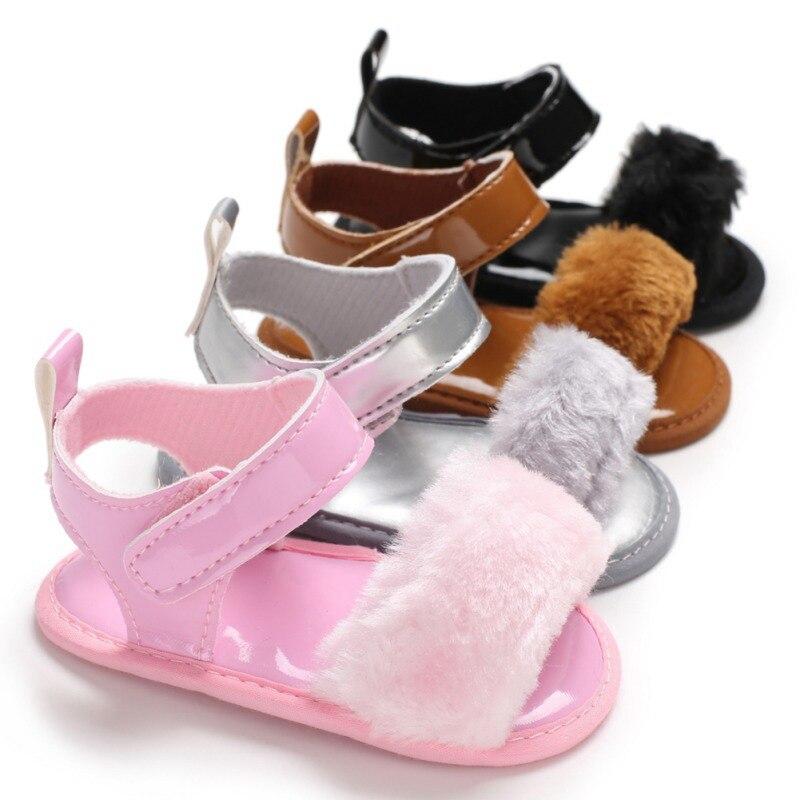 Baby Sandals Fur Cute Infant Girls Sandal Baby Shoes Summer Toddler Princess Non-slip Crib Shoes For Girl Children Sandal