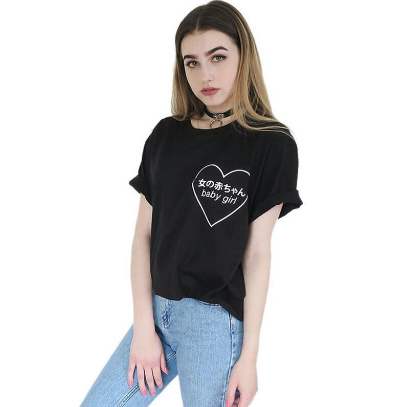 Baby Girl Heart Japanese Harajuku Signs Printing T-shirt Tumblr Women Fashion Clothes Punk Tee Shirt Femme Black White Tshirt