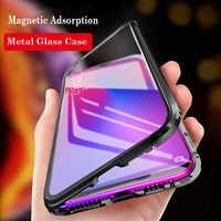 Magnétique Téléphone étui pour samsung Galaxy Note 10 Pro A60 A50 A70 A30 A20 A10 M20 S10 5G C9 Pro A9 En Aluminium pour Pare-chocs En Métal Vitrine