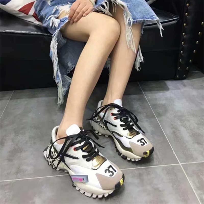 Prova Perfetto 2019 baskets femmes à la mode gros papa chaussures femme mode semelle épaisse dames plate-forme chaussures lacets zapatillas mujer