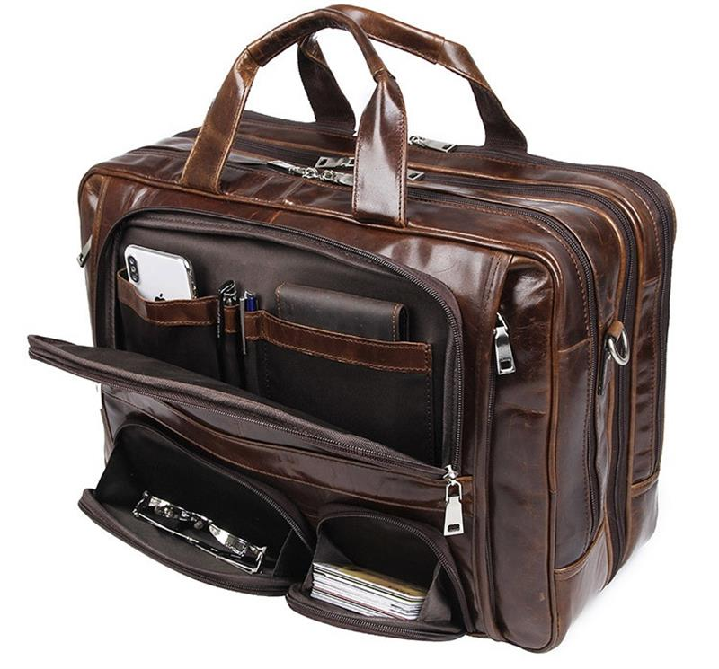 Luufan Top Grade Fashion Men's Genuine Leather Bussiness Bags 15