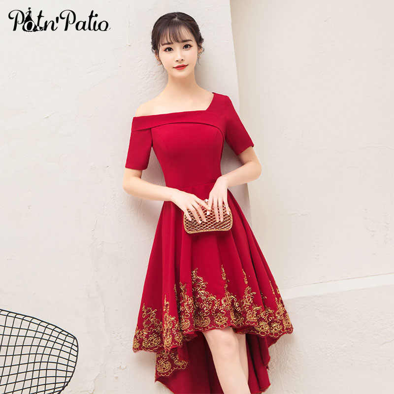2f0a8f92a747 One Shoulder Wine Red Wedding Guest Dress Elegant Simple Satin High Low Bridesmaid  Dress With Short