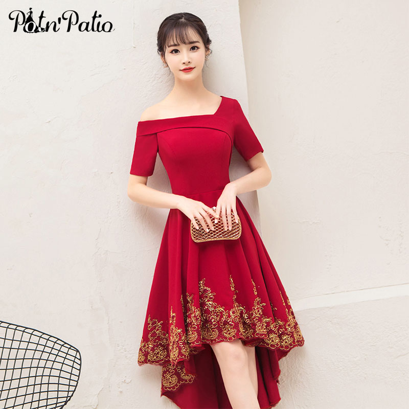 One Shoulder Wine Red Wedding Guest   Dress   Elegant Simple Satin High Low   Bridesmaid     Dress   With Short Sleeves 2018 Plus Size