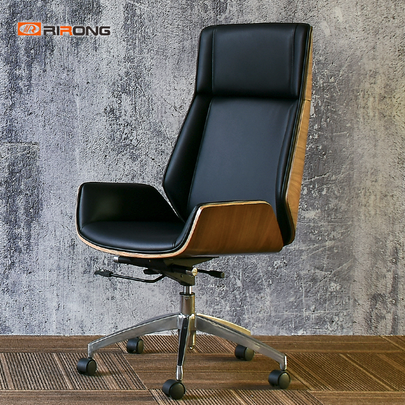 Walnut Wood Seat Office Black Rolling Chair Home Computer Chair Manager Director Leather Office Plywood Swing Visitor Chair