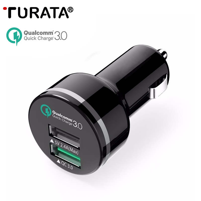 TURATA USB Car Charger for iOS and Android Devices 2 Port 5V 2 4A Qualcomm Quick